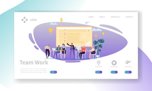Página inicial de trabalho em equipe. banner com personagens de pessoas de negócios plana trabalhando juntos modelo de site. fácil edição e personalização. Vetor Premium