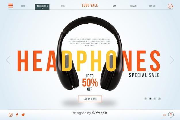 Página inicial de venda de fones de ouvido com foto Vetor grátis