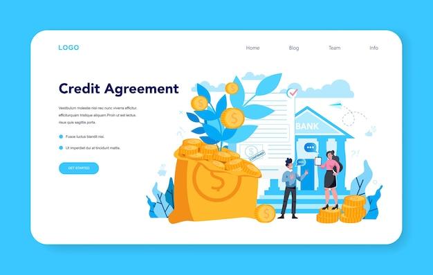 Página inicial do acordo de crédito Vetor Premium