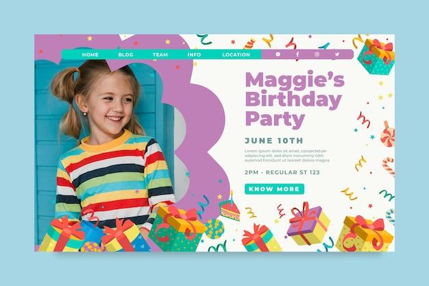 Página inicial do aniversário infantil Vetor grátis
