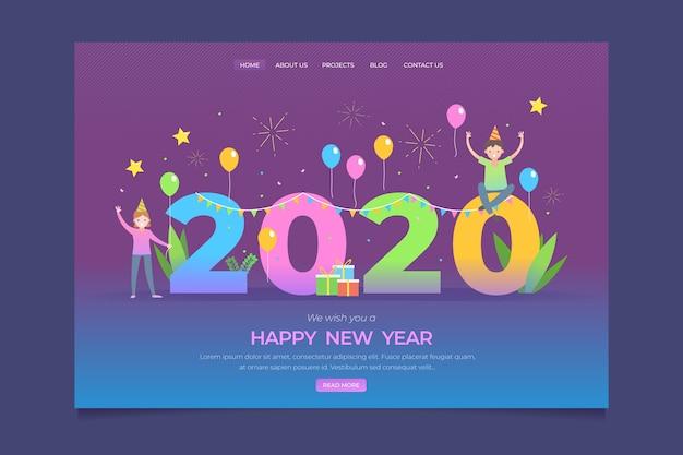 Página inicial do ano novo em design plano Vetor grátis