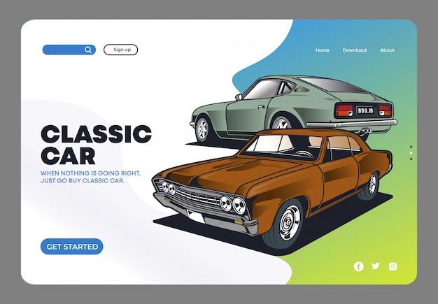 Página inicial do carro clássico Vetor Premium