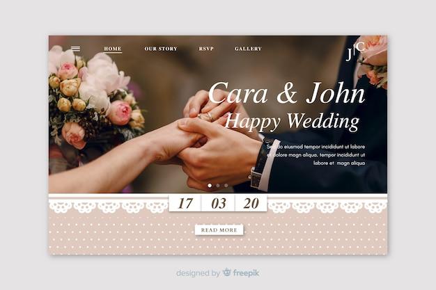 Página inicial do casamento com imagem Vetor grátis