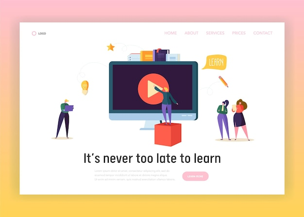 Página inicial do conceito de educação de negócios on-line. Vetor Premium