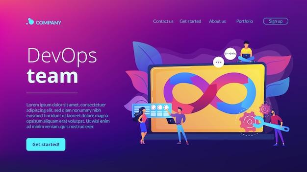 Página inicial do conceito de equipe do devops Vetor Premium