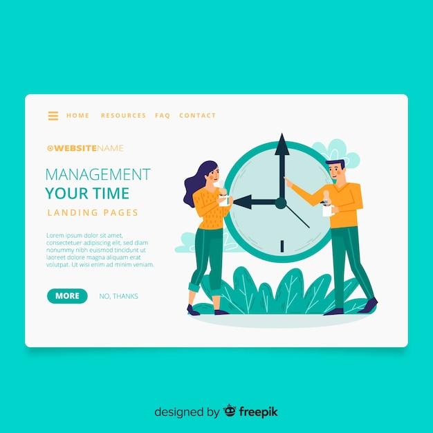 Página inicial do conceito de gerenciamento de tempo Vetor grátis