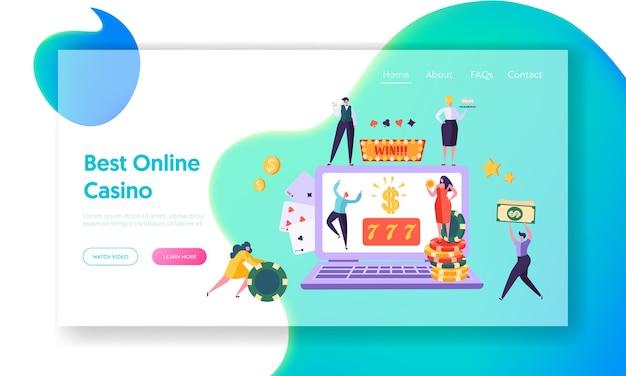 Página inicial do conceito de jogo de casino online. Vetor Premium