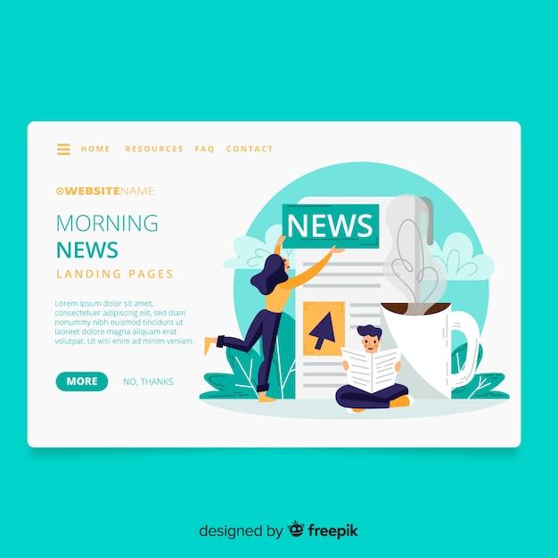 Página inicial do conceito de notícias Vetor grátis