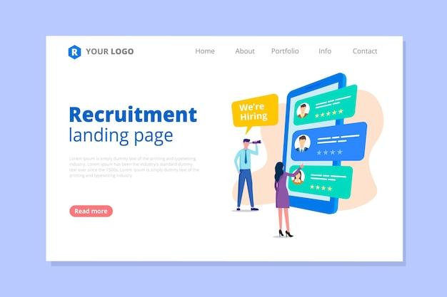Página inicial do conceito de recrutamento Vetor grátis