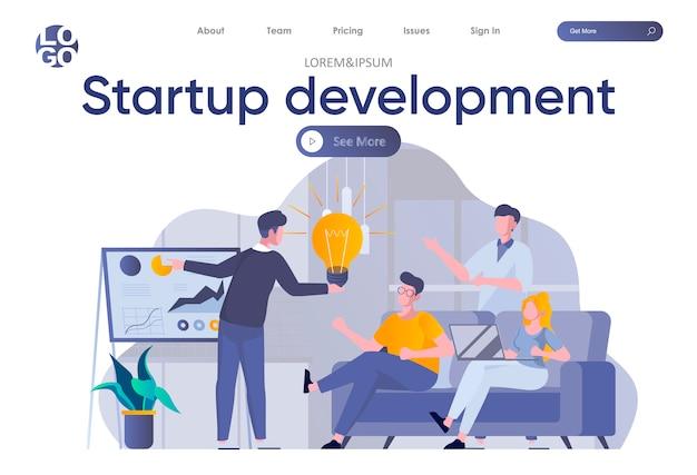 Página inicial do desenvolvimento de inicialização com cabeçalho. fundadores de startups planejando estratégias e metas para o crescimento do projeto na cena do escritório. coworking, trabalho em equipe e criatividade situação ilustração plana. Vetor Premium
