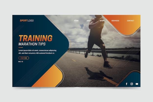 Página inicial do esporte com foto de homem treinando Vetor grátis