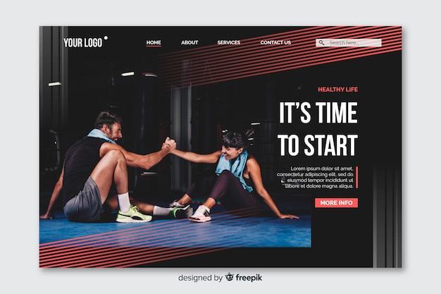Página inicial do esporte com foto e linhas vermelhas desbotadas Vetor grátis