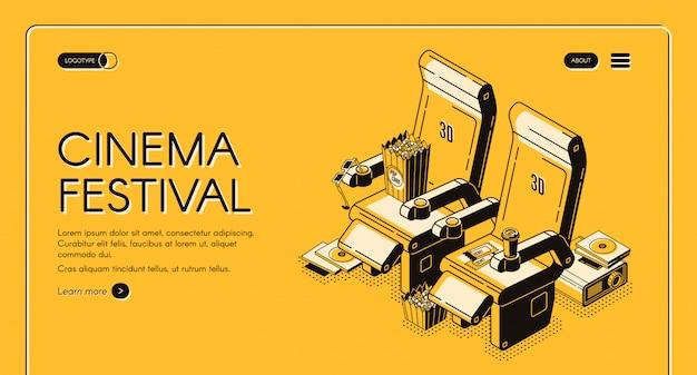 Página inicial do festival de cinema Vetor grátis