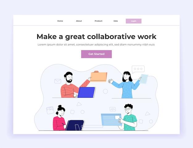 Página inicial do grupo de trabalho de colaboração de jovens Vetor Premium