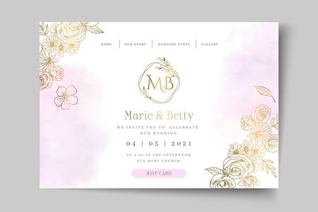 Página inicial do modelo de cartão de casamento floral Vetor Premium