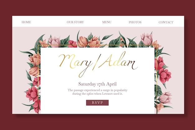 Página inicial do modelo de casamento floral Vetor Premium