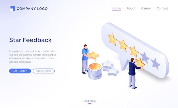 Página inicial do modelo de feedback de estrela Vetor grátis