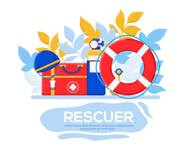 Página inicial do rescue Vetor Premium