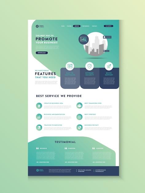 Página inicial do site comercial, página inicial do aplicativo, design da interface do usuário da web Vetor Premium