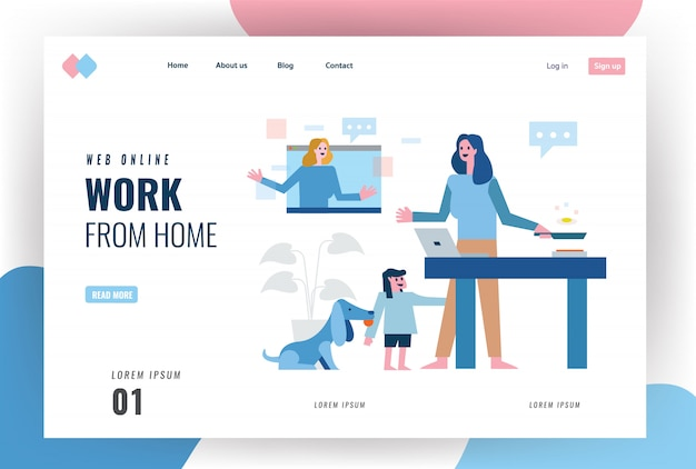 Página inicial do site sobre o conceito de quarentena em casa. mãe multitarefa trabalha em casa. trabalhando on-line, cozinhar e cuidar de criança e animal de estimação. Vetor Premium
