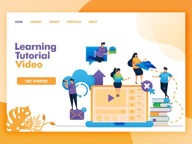 Página inicial do vídeo do tutorial de aprendizado para educação e aprendizado. Vetor Premium