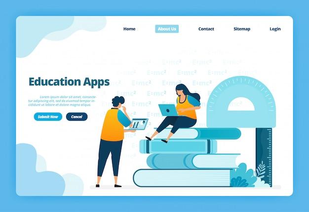 Página inicial ilustração de aplicativos educacionais. ensino a distância moderno com cursos virtuais na internet Vetor Premium