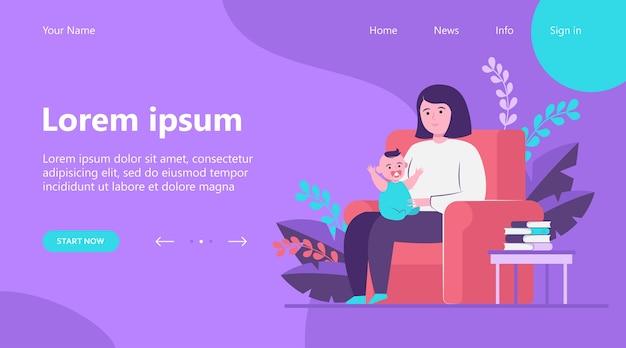 Página inicial, mãe sentada na poltrona e segurando o bebê. ilustração em vetor plana criança, criança, criança. família e conceito de parentalidade Vetor grátis