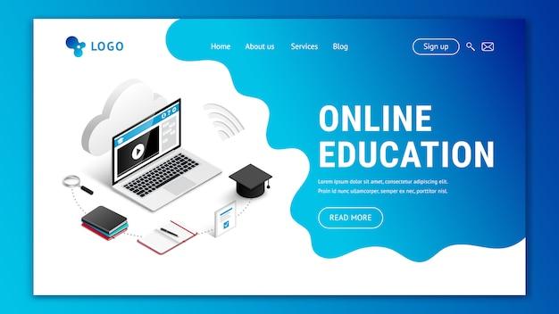 Página inicial modelo de design web para educação on-line. conceito isométrico moderno da site do ensino eletrónico 3d. ilustração com laptop, caderno, telefone, café, lápis, nuvem, fundo azul ameba Vetor Premium
