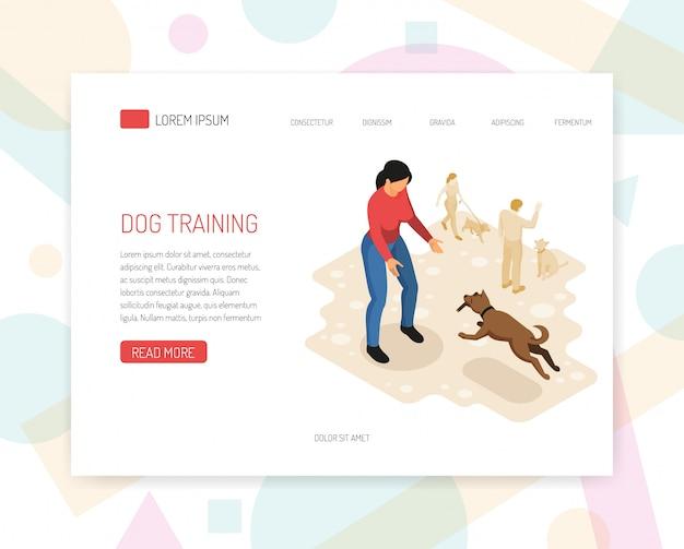 Página inicial ou modelo da web com análise de comportamento do cão cynologyst tarefas específicas que realizam a interação com o ambiente ilustração em vetor design web página isométrica Vetor grátis