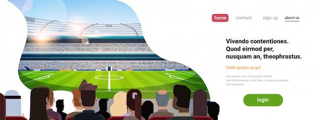 Página inicial ou modelo de site com ilustração de futebol, tema de esporte Vetor Premium