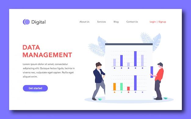 Página inicial simples de gerenciamento de dados Vetor Premium