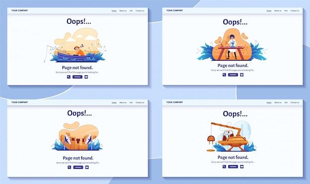 Página não encontrada 404 mensagem de erro para ilustração do site. alerta de aviso, problema de conexão de rede, página de destino de falha na pesquisa na internet Vetor Premium