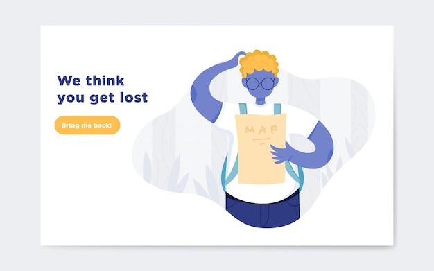 Página não encontrada landing page de ilustração Vetor Premium