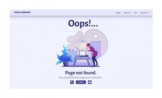 Página não encontrada mensagem de erro para ilustração do site. alerta de aviso, problema de conexão de rede, página de destino de falha na pesquisa na internet Vetor Premium