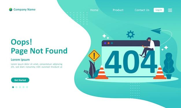Página not found error 404 landing page Vetor Premium