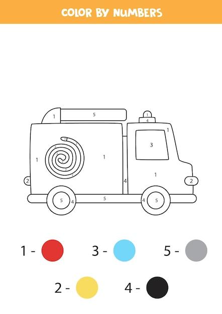 Página para colorir com caminhão de bombeiros dos desenhos animados. colorir por números. jogo de matemática para crianças. Vetor Premium