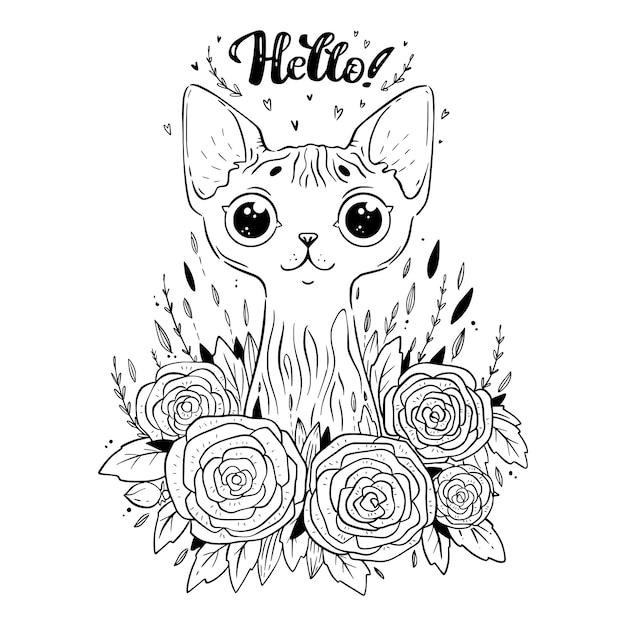 Página Para Colorir Com Gato Sphynx Com Flores Rosas Dizendo