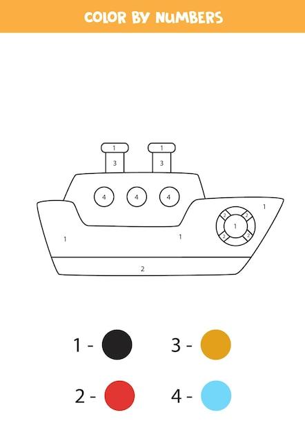 Página para colorir com navio de desenho animado. colorir por números. jogo de matemática para crianças. Vetor Premium
