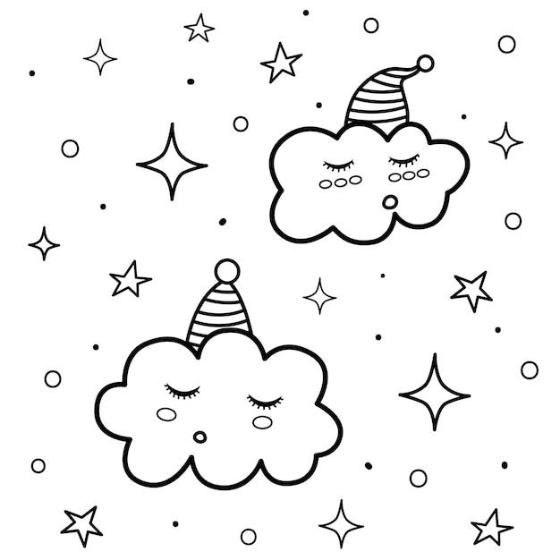 Página para colorir de nuvens adormecidas. impressão em preto e branco com personagens engraçados. boa noite, fundo. Vetor Premium