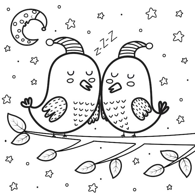 Página para colorir de pássaros bonitos dormindo à noite. lua e estrelas ilustração do vetor de bons sonhos Vetor Premium