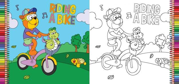 Página para colorir de tigre, andar de bicicleta com cobra no parque Vetor Premium