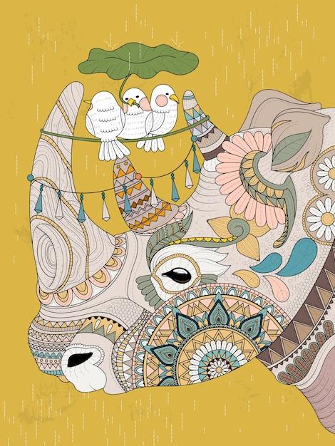 Página para colorir para adultos adorável rinoceronte com pássaros Vetor Premium