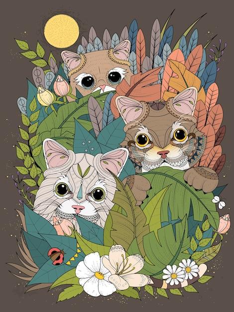 Página para colorir para adultos gatinhos selvagens se escondendo atrás de plantas Vetor Premium