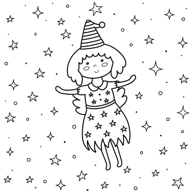 Página para colorir para crianças com uma fada bonita. bruxinha de fantasia voando no céu noturno. fundo preto e branco. Vetor Premium