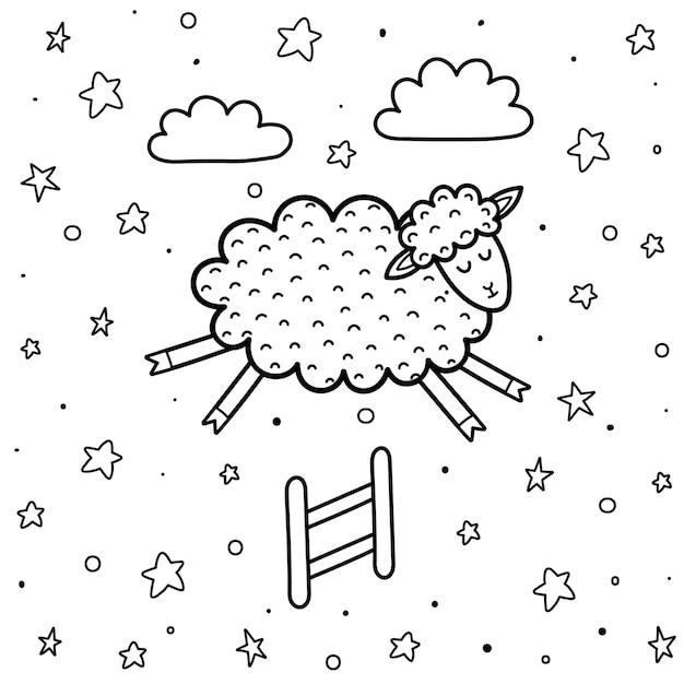 Página para colorir para crianças com uma ovelha bonita pulando a cerca. contando ovelhas com fundo preto e branco. boa noite ilustração Vetor Premium