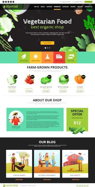 Página web eco food Vetor grátis