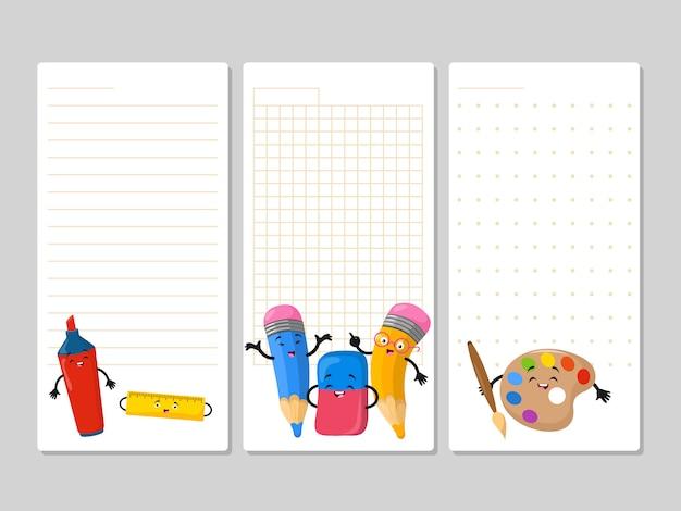 Páginas do bloco de notas com lápis bonito dos desenhos animados marcador de borracha Vetor Premium