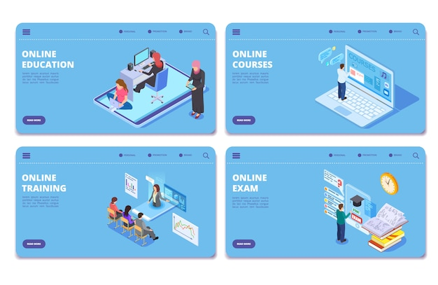 Páginas do conceito isométrico de educação on-line. exame online, treinamento, conjunto de páginas de destino dos cursos Vetor Premium