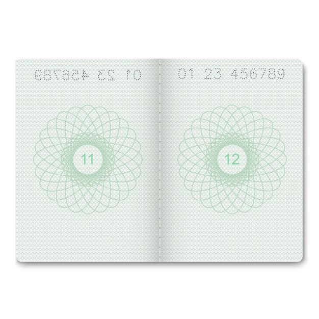Páginas em branco do passaporte realista para selos. Vetor Premium