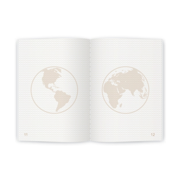 Páginas em branco realistas do passaporte para selos. passaporte vazio com marca d'água Vetor Premium